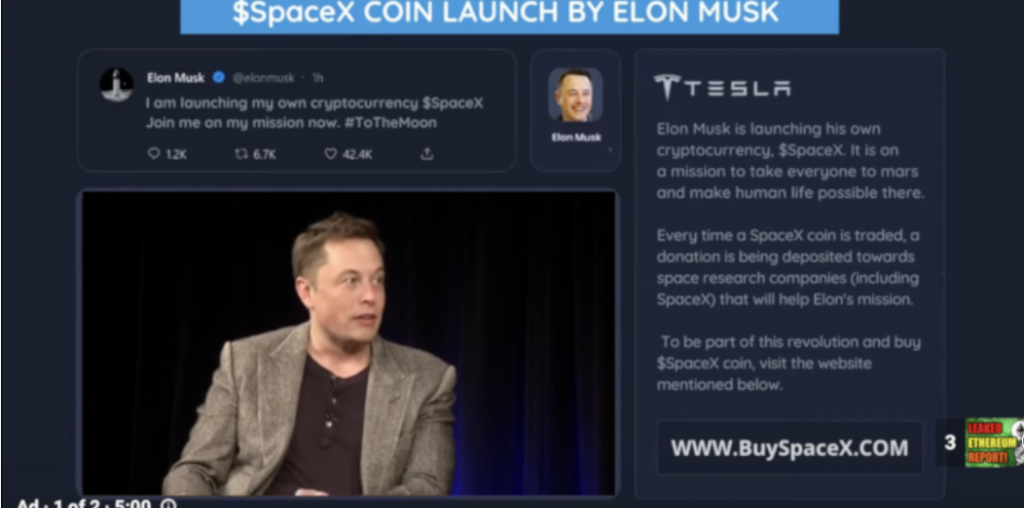 Look out for Elon Musk YouTube scam ads